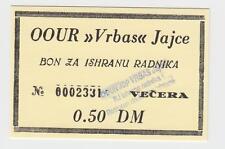 Local note bons coupon 0,5 DM Germany Mark OOUR VRBAS JAJCE Bosnia ex Yugoslavia