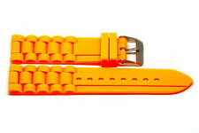 2 PIECES 22MM NEON ORANGE SILICONE RUBBER SPORT WATCH BAND STRAP FITS FOSSIL