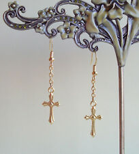 Pretty Golden Cross Charm Dangly Drop Earrings
