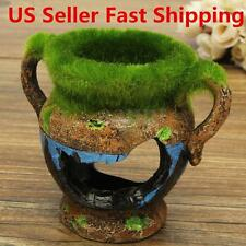 Aquarium Ornament Resin Sculpture Fish Tank Moss Decoration Vase Reptile Hiding