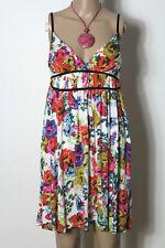 H&M Kleid Gr. 38 weiß-bunt kurz/mini Empire Blumen Vögel Träger Kleid