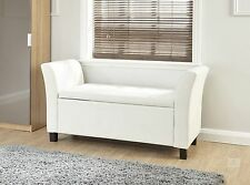 White Storage Bench Chaise Longue Deluxe Stool Bedroom Seat Faux Leather Ottoman