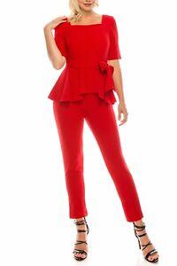 Flirty Gabby Skye Regal Red Square Neckline Peplum Jumpsuit, 8-16