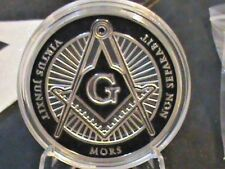 FREE MASON~Challenge coin~1 oz.~silver plate Unciralated Proof like~ N Hard Case