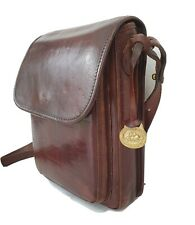 Vintage BRAHMIN Cross Body Shoulder Brown Leather Bag Satchel