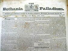 <1832 RARE ANTI SLAVERY LANCASTER COUNTY Pennsylvania ABOLITIONIST newspaper