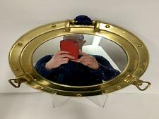 Circular Brass Porthole Mirror, Adapted From Ship's Porthole, Circa 20th Century