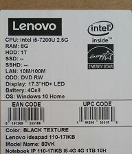 "Lenovo Laptop 110-17IKB 17.3"" Laptop - Intel Core i5 - 8GB Memory-1TB Hard Drive"