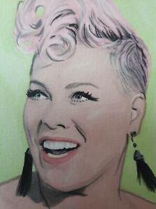 Original singer Pink aceo miniature art sketch card drawing