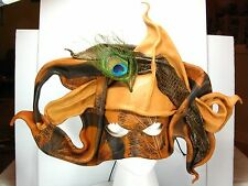 LEATHER MASQUERADE BALL Halloween MASK Wall Art Mexico EMI 08 w/ Peacock Feather