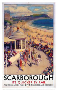 Vintage Scarborough its quicker by rail Art Railway Travel Poster A1/A2/A3/A4