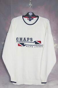 CHAPS RALPH LAUREN 90'S VINTAGE EMBROIDERED HAND FRAMED KNIT SWEATSHIRT,SIZE:XL