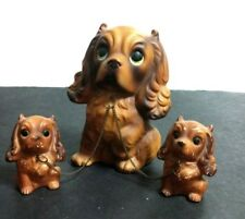 King Charles Spaniel Mother Dog & Puppies Chained Ceramic Figurines ~ Vtg Japan
