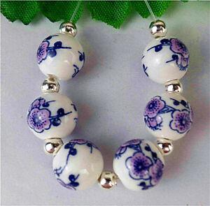 6Pcs 10mm Blue&White Print Flower Ceramic Heigth Hole Ball Loose Bead BV40481