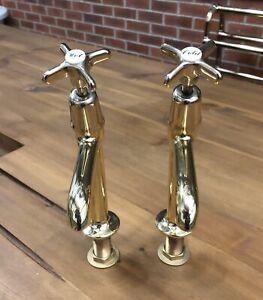 Antique Brass Belfast Sink Kitchen Taps - Reclaimed Refurbished Stunning