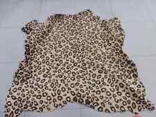 Calfskin leather hide skin pelt Hair On Leopard Print on Tan silky haired