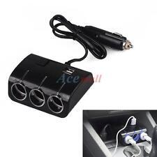 3 LED Socket 120W Car Cigarette Lighter Splitter 2 Usb Charger Adapter w/ Switch
