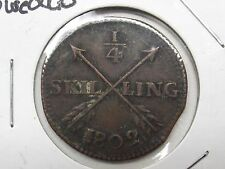 1802 SWEDEN 1/4 SKILLING Coin 3 crowns Crossed Arrows Design With Free Shipping