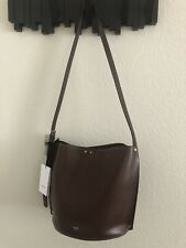 New Auth CELINE Small Bucket Bag Smooth Leather Dark Brown Italy Modern Beauty