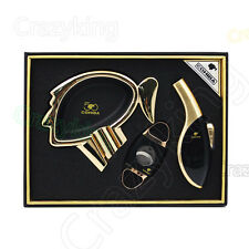 COHIBA Luxury Black Cigar Torch Jet Flame Lighter Cutter Ashtray Gift Set New