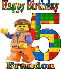 LEGO MOVIE EMMET PERSONALIZED BIRTHDAY SHIRT ++ PERSONALIZED LEGO NAME & # 447