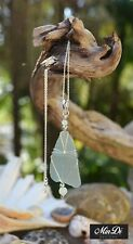 Handmade Necklace with Sterling Silver, Sea glass & Amazonite, one of a kind