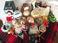 Lot of 25 Vintage Christmas Ornaments Hallmark Precious Moments, Handmade, Glass
