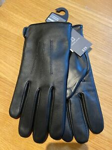 M&S Mens Genuine Leather Thermowarmth Gloves BLACK Size: SMALL BNWT (FREE P&P)