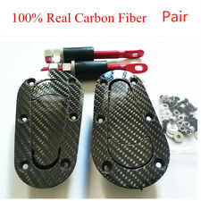 100% Real Carbon Fiber materical 2x Plus Flush Hood Latch+2x Steel Pin Hooks