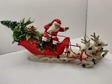 Vintage Retro Father Christmas Santa Sleigh Deer Toys Present Plastic Decoration