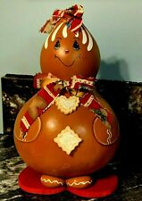 Christmas Decor - Gingerbread Girl Figure - Handcrafted (Gourd) One of a Kind