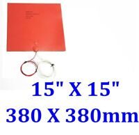 "15"" X 15"" 380 X 380mm w/ 3M 3D Printer Heat Bed iThermal CE Silicone Pad Heater"