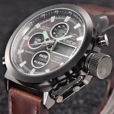 JAPAN Herren Quartz Sport Uhr Militär Leder LED Armbanduhr Analog Kalender Watch