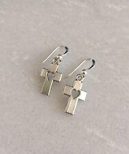 Silver Cross Heart Drop Dangle Earrings With 925 Sterling Silver Hooks