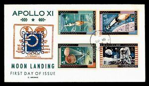 DR WHO 1970 GRENADA FDC SPACE MOON LANDING GEORGE CACHET COMBO OVPT  g00478