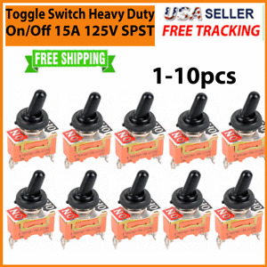 Toggle SWITCH ON/OFF Heavy Duty 15A 125V SPST 2 Terminal Car ATV Waterproof 1-10