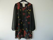 Yumi Black Flower Tunic dress size 10 new with tags