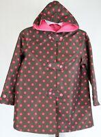 Gymboree Girls Brown Red Polka Dot Hooded Rain Jacket Size S 5/6