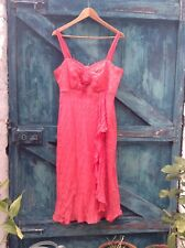 Womens Dress Size 14/16 Zara Coral Pink Silk Spot Spanish Style Party Vgc