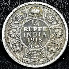 British India 1918 1/4 Rupee Silver Coin~  Uncirculated - KM#518 Rare.