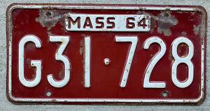 1964 White on Maroon Massachusetts License Plate