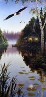 """Mark Daehlin """"Serenity III"""" Loon Cabin Print  9"""" x 19"""""""