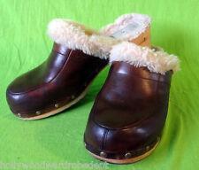 UGG shearling CLOG wood wooden brown leather fur US 10 wool brown mule platform