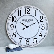 Distressed White Wooden Wall Clock, 60cm