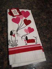 Dachshund Kitchen Dish Towel-Weiner Dog Hearts and Balloons Cartoon - NWT Weiner
