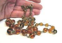 BURNT ORANGE GLASS BEAD NECKLACE STRAND STRING SILVER VINTAGE 27 INCHES LONG