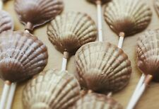 Clam Shell milk chocolate lolly. Lollipop. Handmade wedding/party favours