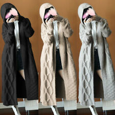 Womens Chunky Sweater Knit Open Front Hooded Coat Long Cardigan Coat Tops Jacket