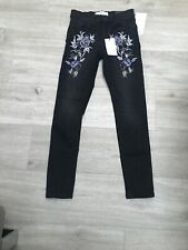 Mango Black  Denim  Floral Embroidered Jeans BNWT Skinny Cropped EU 32 UK 4