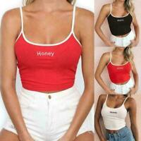 Women Crop Top Sexy Honey Tank Tops Cropped Ladies Spaghetti Elastic Strap J5H2
